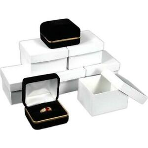 Black Velvet Double Ring Jewelry Gift Box With Brass Rim Kit 144 Pcs