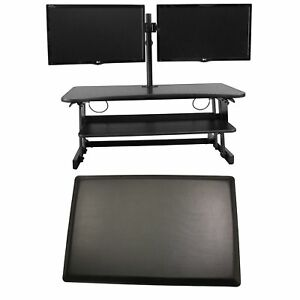 Rocelco Dadr Adj Standing Desk Riser 37 Black W monitor Arm And Mat