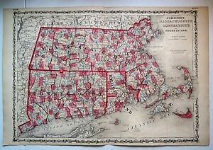 Vintage 1860 Massachusetts Connecticut Map Old Antique Original Atlas Map 101118