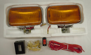 Vintage Rectanglular Amber Incandescent Automobile Fog Light Set