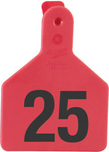Z Tags Calf Ear Tags Red Numbered 101 125