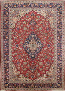 Antique Vegetable Dye Floral Najafabad Persian Oriental Medallion Area Rug 10x14