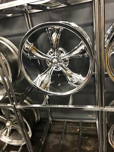 Ridler Chrome Set 4 695 Chevy 5x5 5x127 18x8 Free Lugs 1972 C10 73 87 2wd 88 98