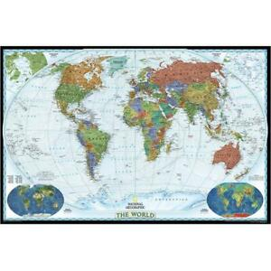 National Geographic Re00622080 World Decorator Enlarged And Laminated Map