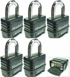 Combination Lock Set By Master 1178d lot 5 Resettable Weather Sealed Carbide