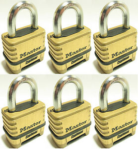Combination Lock Set By Master 1175 lot Of 6 Resettable Brass Sealed Carbide
