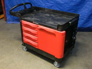 Rubbermaid Commercial Trademaster Utility Cart W 4 Drawers And Cabinet 4533 88