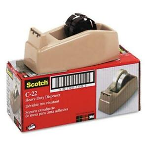3m C22 Two roll Desktop Tape Dispenser 3core High impact Plastic Beige