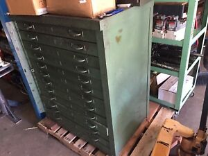 Used Industrial Tool Storage 12 Drawer Bottom 18 Drawer Top Equipto W contents