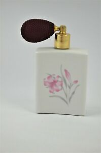 Vintage Jasco Hand Painted Floral Day Lily Ceramic Atomizer Perfume Bottle