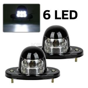 2x White Universal Led License Plate Light Lamp Car Van Trailer Trucks 12v