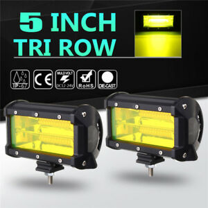 2x 5 Inch Yellow Led Work Light Bar Flood Beam Boat Offroad Atv Driving Fog Lamp