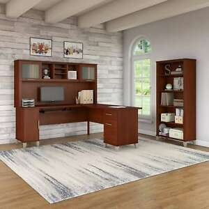 Somerset 72w L Shaped Desk With Hutch And 5 Shelf Bookcase In Cherry