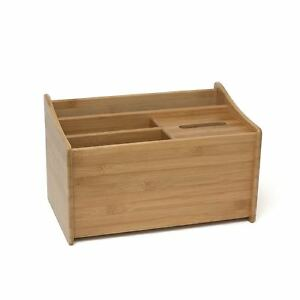 Lipper International 1826 Bamboo Wood Multipurpose Office Organizer With Tissue