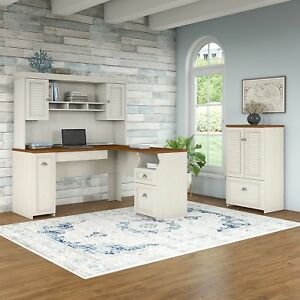 Bush Furniture Fairview 60w L Shaped Desk With Hutch And Storage Cabinet With