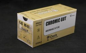 Veterinary Chromic Gut Absorbable Suture Size 4 0 Needle Nfs 2 12 box