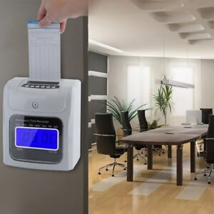 Lcd Employee Attendance Clock Checking Machine Electronic Time Recorder White