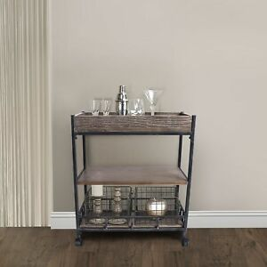 Davao Industrial Kitchen Cart In Industrial Grey And Pine Wood