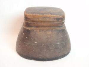 Antique Hat Block Industrial Mold Super Unusual Shape Wood Oval Double Layer 23