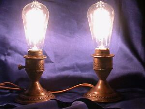 Vintage Crest Sterling Silver Weighted Candle Stick Lamps