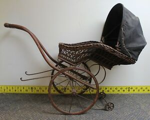 Vintage Antique Wicker Baby Doll Buggy Stroller Carriage