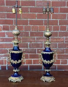 Pair 20s Cobalt Blue Porcelain Sevres Style Neoclassical Table Lidded Urn Lamps