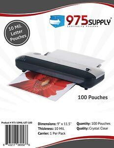 975 Supply 10mil Letter Laminating Pouches 9 X 11 5 Clear 100 Pouches