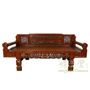 Antique Chinese Carved Rattan Top Lady S Day Bed