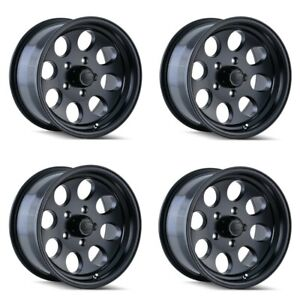 Set 4 17 Ion 171 Black Rims 17x9 5x5 12mm Lifted Jeep Wrangler Chevy Gmc 5 Lug