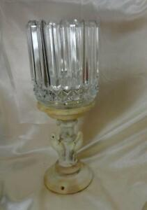 Antique Alabaster Marble Figural Lamp Base Birds W Pressed Glass Shade