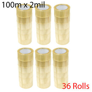 36 Rolls 2 Packing Sealing Tape 100m X 2 Mil 110 Yard Packaging Clear Tapes