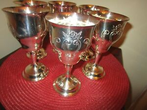 Gorham Silver Plate Goblets Chantilly Pattern 6 Matching Pieces