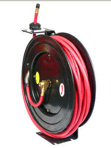 3 8 X 100 Ft Feet Retractable Rubber Air Hose Reel 300 Psi Free Shipping
