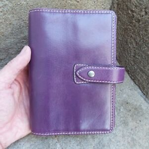 Filofax Malden Personal Organiser Planner Diary Book Purple Leather