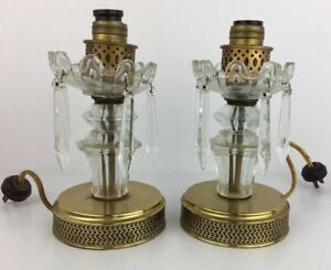 Vintage Crystal Glass Brass Boudoir Table Lamps Parts As Is 2