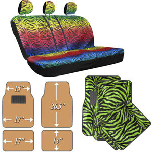 Car Suv Van Truck Bench Seat Cover Rainbow Color Zebra Animal W Green Floor Mats