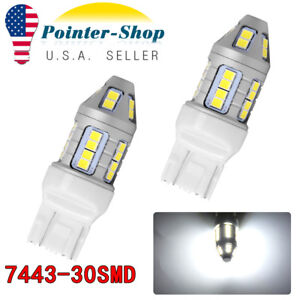 2x 7443 Pure White 30led Blinking Backup Reverse Light Parking Bulbs 12v 24v