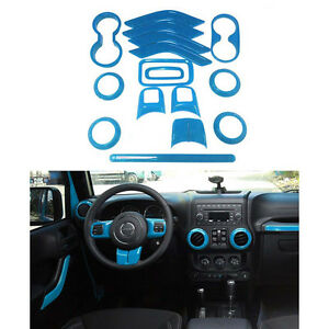 16x Light Blue Interior Covers Decoration Trim For Jeep Wrangler Jk Jku 2011 17