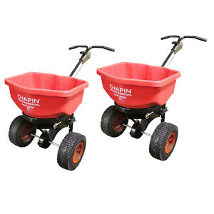 Chapin 82080 Pro 80 Pound Broadcast Seed And Lawn Fertilizer Spreader 2 Pack
