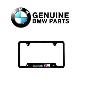 For Genuine For Bmw Powered By M Carbon Fiber License Plate Frame Black One