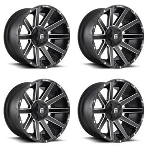 Set 4 22 Fuel Contra D616 Matte Black Milled Rims 22x12 8x170 44mm Lifted Ford