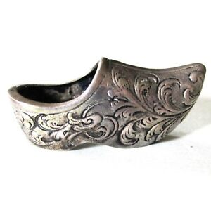 Antique Miniature 835 Silver Dutch Shoe 1 1 2 Hallmarks 3d Figure Solid Silver