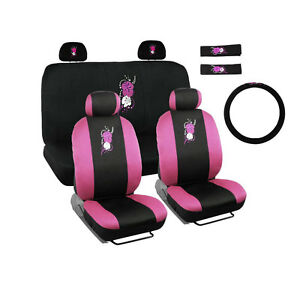 New Pink Hawaii Hawaiian Flower Car Front Back Seat Covers Steering Wheel Cover