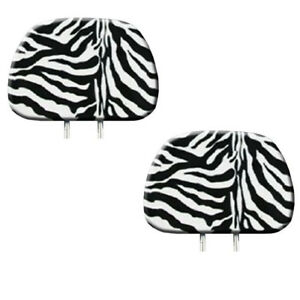 New 2pc White Zebra Tiger Print Headrest Covers Match Seat Covers Floor Mats