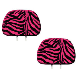 New 2pc Hot Pink Zebra Tiger Print Headrest Covers Match Seat Covers Floor Mats