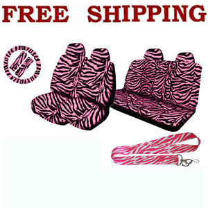 Pink Zebra Print Set Front Rear Seat Covers Steering Wheel Cover