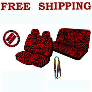 New Set Red Zebra Print Seat Covers Steering Wheel Cover Lanyard
