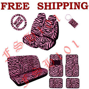 Full Set Pink Zebra Print Steering Wheel Seat Covers Floor Mats