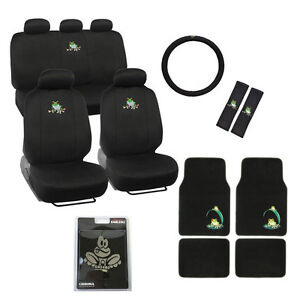 New Full Set Green Tree Frog Car Front Back Seat Covers Floor Mats