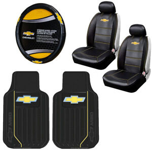 7pcs Chevy Elite Logo Car Truck Seat Covers Floor Mats Steering Wheel Cover Set